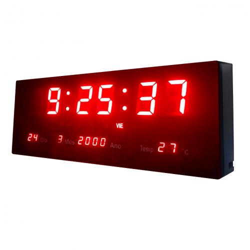 Relógio De Parede Led Digital 36cm x 15cm Com Termômetro Alarme Calendário e Botões de Ajuste traseiro