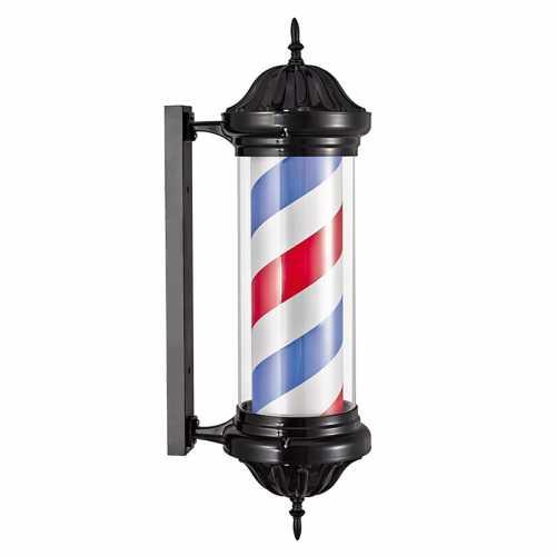 Barber Pole Poste De Barbeiro Aço Inoxidável Outdoor preto 67cm x 31cm