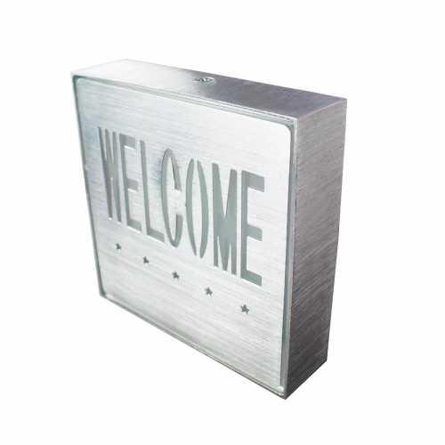 Placa de Led Metal Sinalização Bem Vindo Welcome