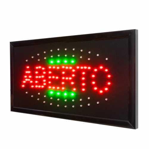 Letreiro De Led Pub Placa de Sinalização Escrito Aberto Colorido com Efeito Luminoso 48cm x 25cm