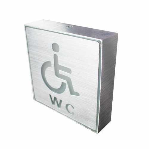 Placa de Led Metal Sinalização Banheiro Para Cadeirante Aqui