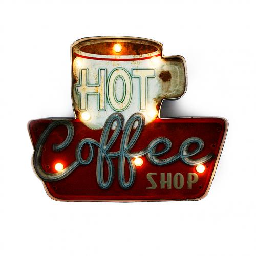 Luminária De Parede Vintage Placa de Led COFFEE SHOP para Decoração Retrô Abaju
