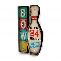 Luminária De Parede Vintage Placa de Led Boliche para Decoração Retrô Bowl