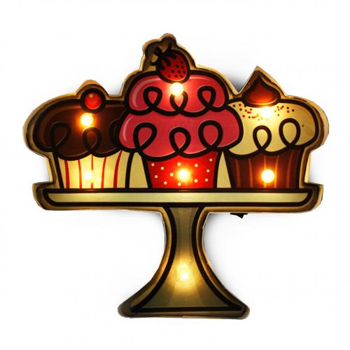 Luminária De Parede Vintage Placa de Led TAÇA CUPCAKE para Decoração Retrô