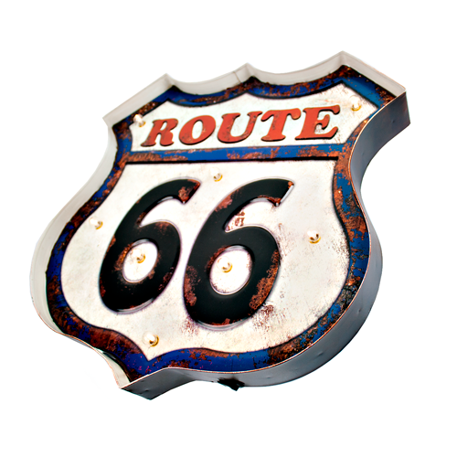 Luminária Route 66 Vintage Placa Led Decoração Nova Coleção