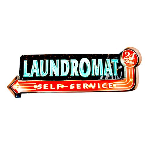 Luminária De Parede Led Laundromat Vintage Luminoso Self-service