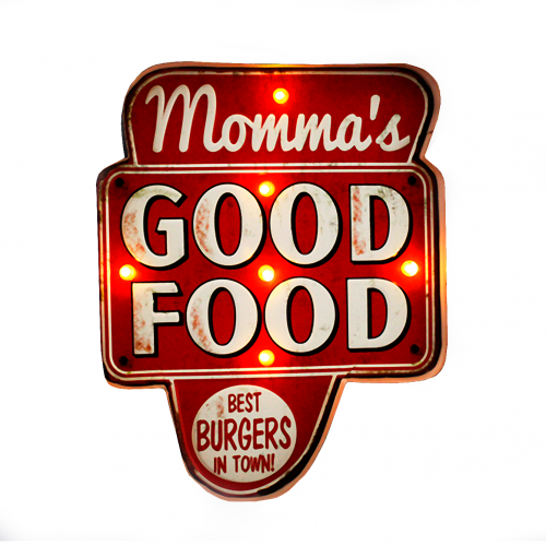 Luminária De Parede Vintage Placa de Led GOOD FOOD para Decoração Retrô