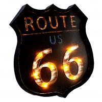 Luminária De Parede Vintage Placa de Led ROUTE 66 para Decoração Retrô