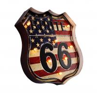 Luminária De Parede Vintage Placa de Led ROUTE 66 BANDEIRA para Decoração Retrô