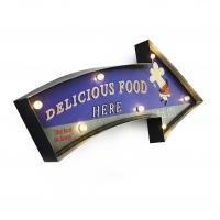Luminária De Parede Vintage Placa de Led DELICIOUS FOOD para Decoração Retrô