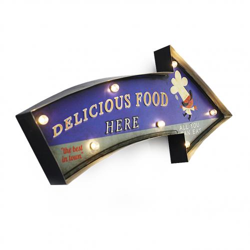 Luminária De Parede Vintage Placa de Led DELICIOUS FOOD para Decoração Retrô Abaju