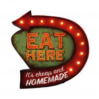 Luminária De Parede Vintage Placa de Led EAT HERE para Decoração Retrô Abaju