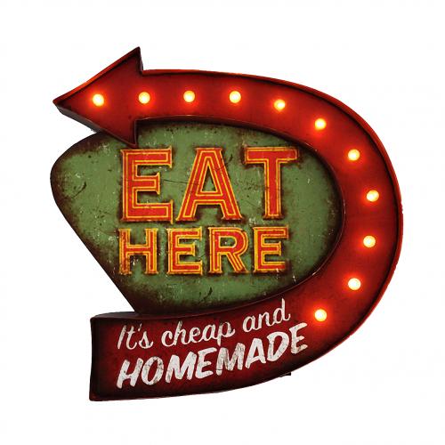 Luminária De Parede Vintage Placa de Led EAT HERE para Decoração Retrô