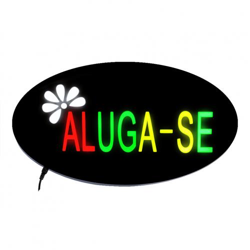 Placa De Led Aluga-se 43cm x 23cm Letreiro de Sinalização Luminoso Efeito Neon