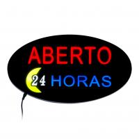 Placa De Led Aberto 24 Horas 43x23cm Letreiro de Sinalização Luminoso Open Neon