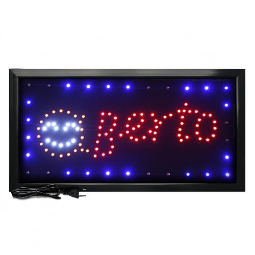 Letreiro De Led Pub Placa de Sinalização Escrito Aberto com Efeito Luminoso 48cm x 25cm