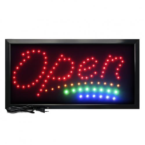 Letreiro De Led Pub Placa de Sinalização Escrito Open com Efeito Luminoso 48cm x 25cm