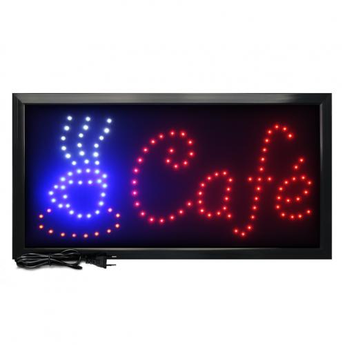 Letreiro De Led Pub Placa de Sinalização Escrito Café com Efeito Luminoso 48cm x 25cm