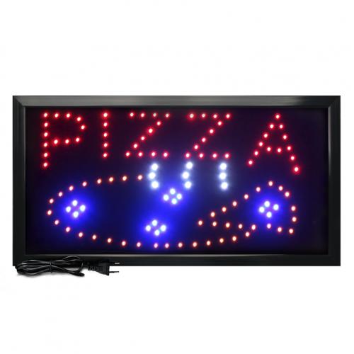 Letreiro De Led Pub Placa de Sinalização Escrito Pizza com Efeito Luminoso 48cm x 25cm