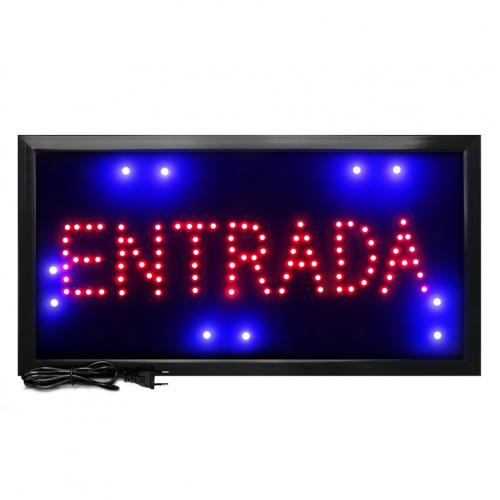 Letreiro De Led Pub Placa de Sinalização Escrito Entrada com Efeito Luminoso 48cm x 25cm