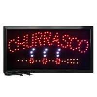 Letreiro De Led Pub Placa de Sinalização Escrito Churrasco com Efeito Luminoso 48cm x 25cm