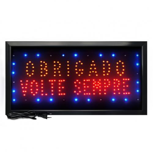 Letreiro De Led Pub Placa de Sinalização Escrito Obrigado Volte Sempre com Efeito Luminoso 48cm x 25cm