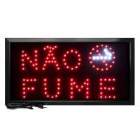 Letreiro De Led Pub Placa de Sinalização Escrito Não Fume com Efeito Luminoso 48cm x 25cm