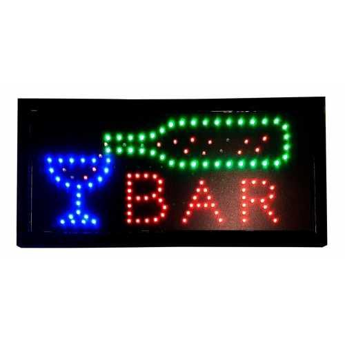Letreiro De Led Pub Placa de Sinalização Escrito Bar com Efeito Luminoso 48cm x 25cm