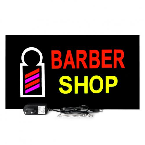 Placa De Led Barber Shop Letreiro Luminoso 44cm x 24cm Efeito Neon