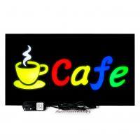 Placa De Led Cafe Colorido 44cm x 24cm Letreiro de Sinalização Luminoso Efeito Neon