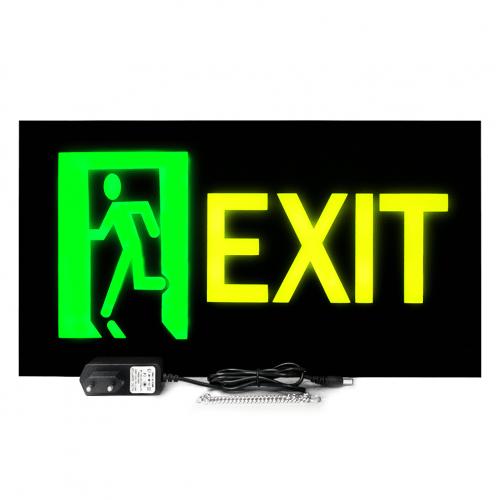 Placa De Led Exit Saída de Emergência 44cm x 24cm Letreiro Luminoso Neon