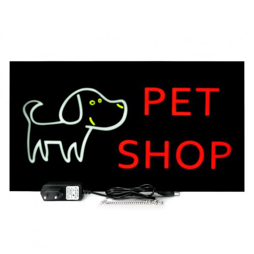 Placa De Led Pet Shop 44cm x 24cm Letreiro de Sinalização Luminoso Neon