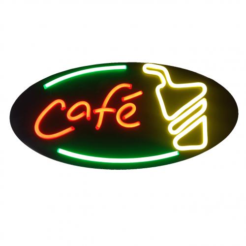 Placa Neon Flex 38cm x 70cm Café Letreiro Luminoso Open Para Cafeteria