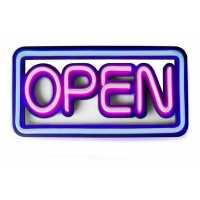 Placa Neon Flex 50cm x 25cm Open Letreiro Luminoso