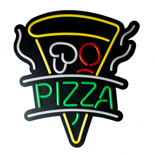 Placa Neon Flex 48cm x 60cm Pizza Letreiro Luminoso
