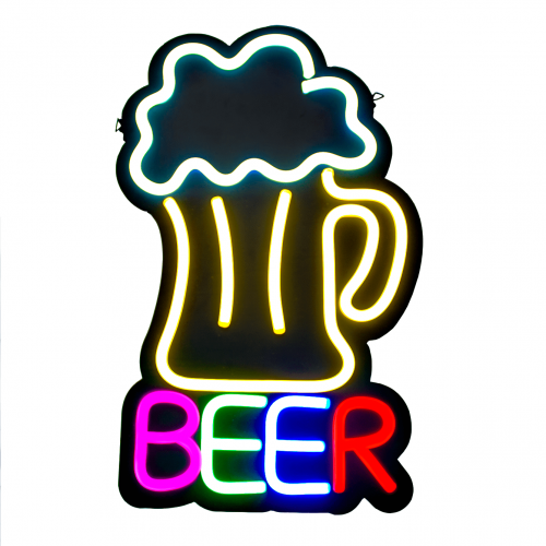 Placa Neon Flex 32cm x 53cm Beer Bar Letreiro Luminoso
