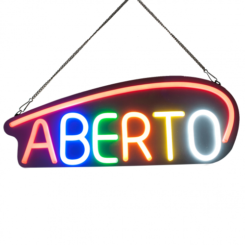 Placa Neon Flex 53cm x 20cm Aberto Letreiro Luminoso