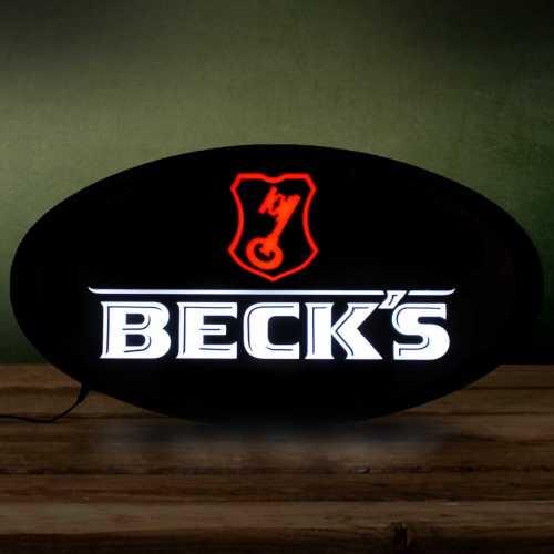 Placa LED Cerveja Beck's Letreiro de Sinalização Luminoso 43cm x 23cm Neon