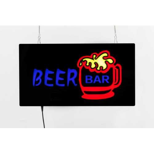 Placa LED Beer Bar Letreiro de Sinalização Luminoso 44cm x 24cm Neon - Cerveja