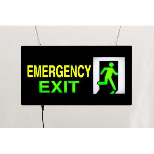 Placa LED Emergency Exit  Letreiro de Sinalização Luminoso 44cm x 24cm Neon - Saída de Emergência