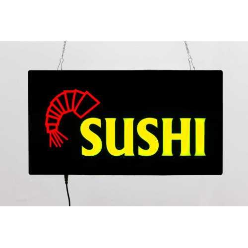 Placa LED Sushi  Letreiro de Sinalização Luminoso 44cm x 24cm Neon