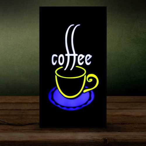 Placa LED Coffee Letreiro de Sinalização Luminoso 44cm x 24cm Neon - Café Vertical