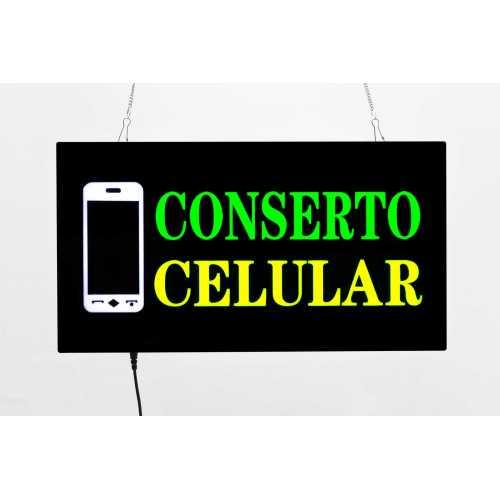 Placa LED Conserto Celular Letreiro de Sinalização Luminoso 44cm x 24cm Neon