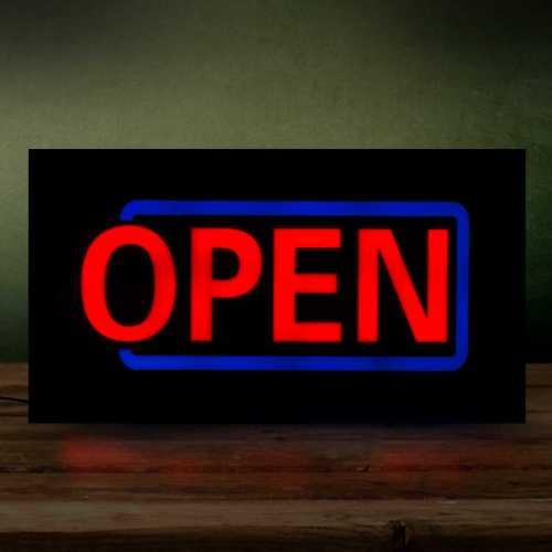 Placa LED Open Letreiro de Sinalização Luminoso 44cm x 24cm Neon - Aberto