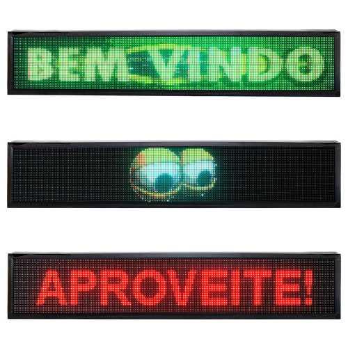 Painel De LED RGB, Letreiro Digital 2m x 40cm Colorido Alto Brilho  P10