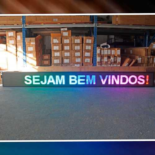 Painel De LED RGB, Letreiro Digital 4m x 60cm Colorido Alto Brilho USB