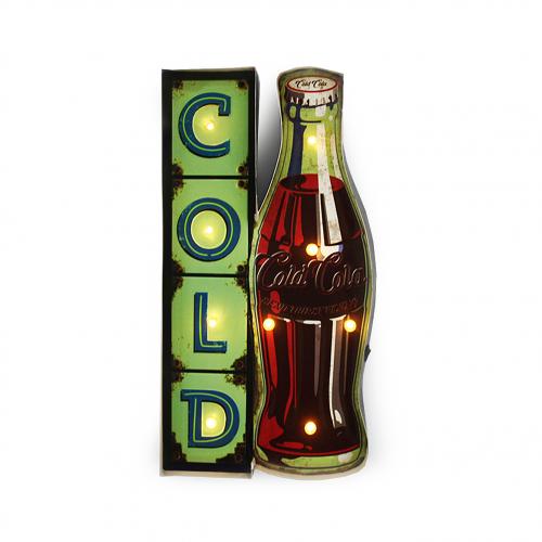 Luminária De Parede Vintage Placa de Led COLD COCA COLA para Decoração Retrô