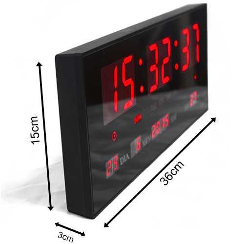 7daed65ce9c Relógio De Parede Led Digital 36cm x 15cm Com Termômetro Alarme Calendário