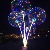 Kit 10 Balões de LED Transparente Festas  Balão Com Varetas e Pilhas