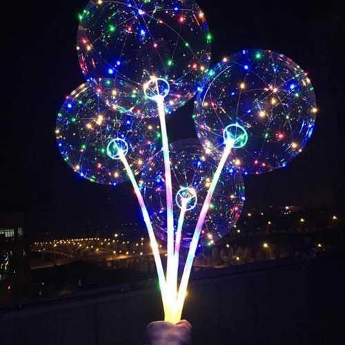 Balão de LED Transparente Festas Com Vareta e Pilhas